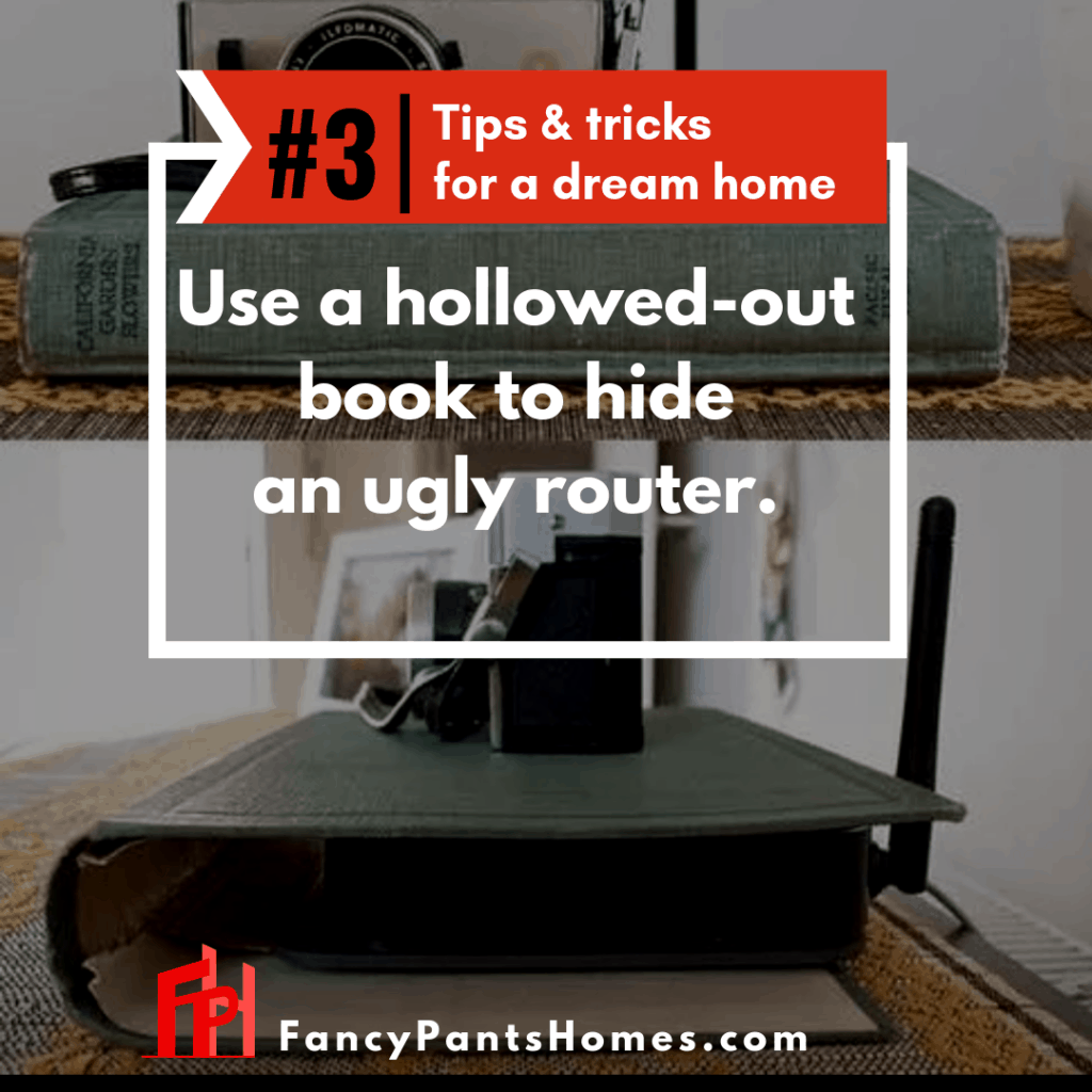 home decor tip hiding an ugly router in a book