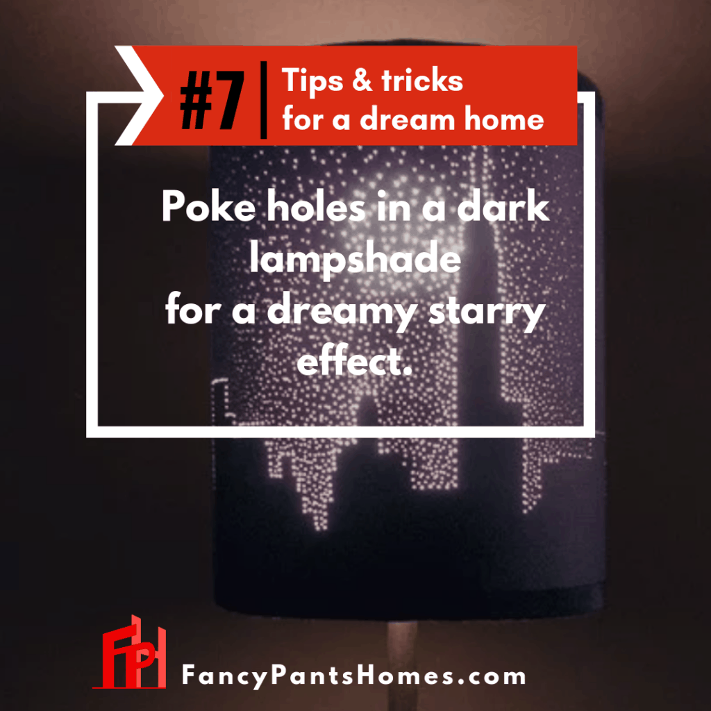 home decor hack poke holes in a lampshade