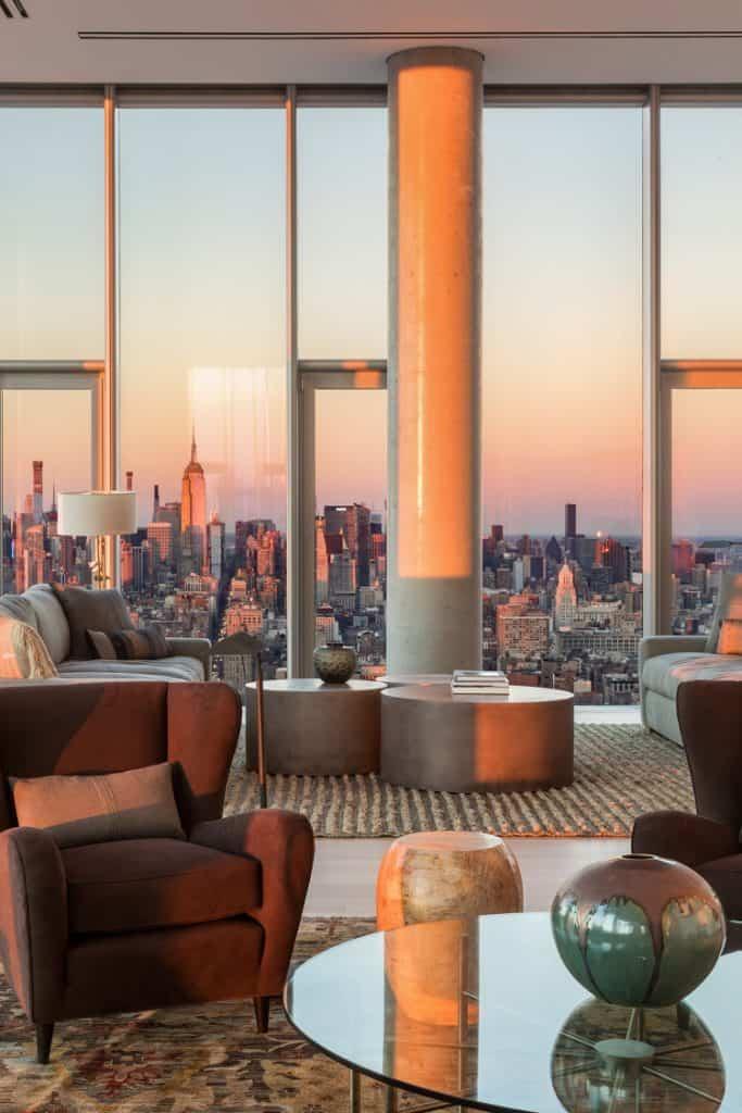 56 leonard penthouse floor 53 living room views of the city