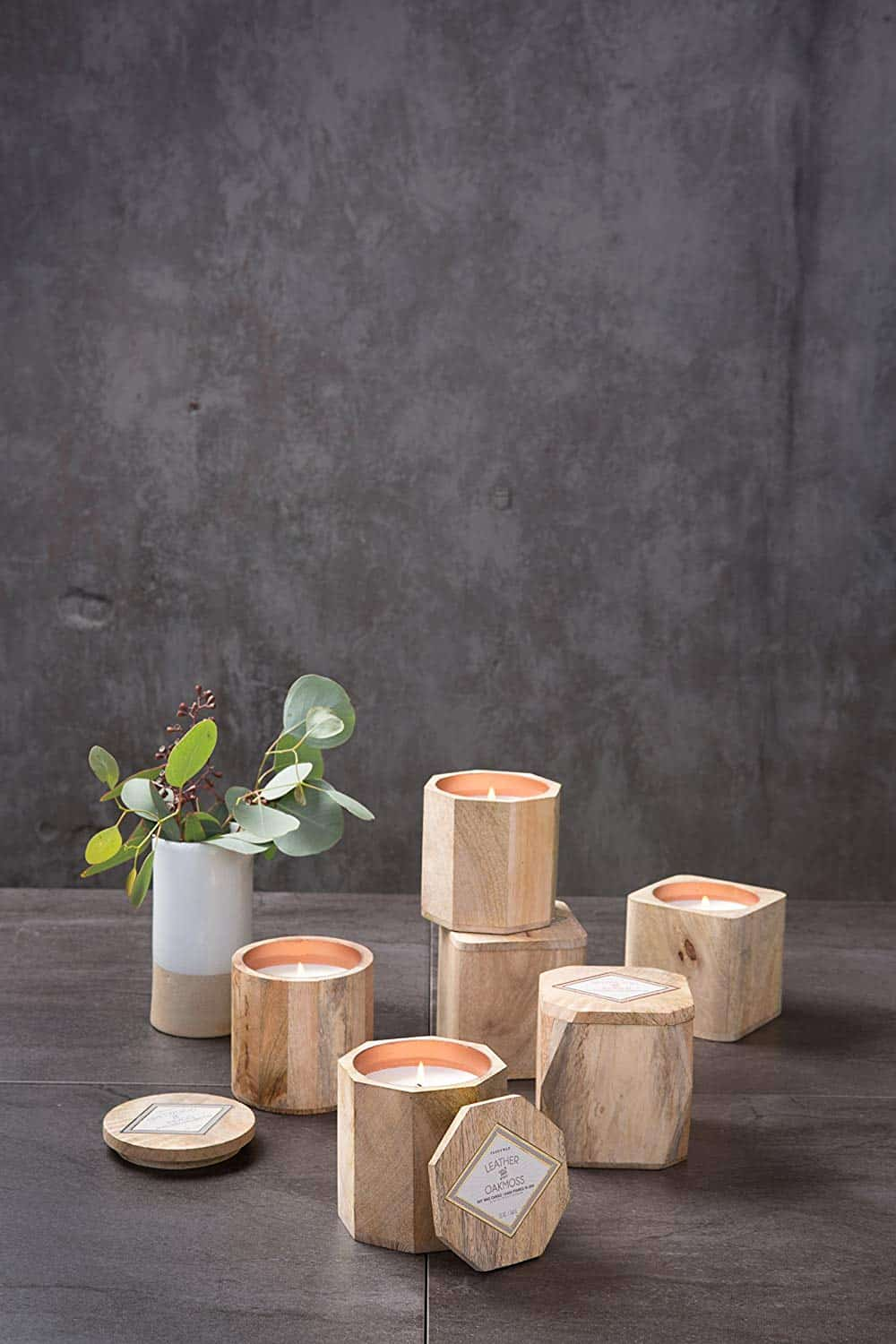 wooden candle home decor
