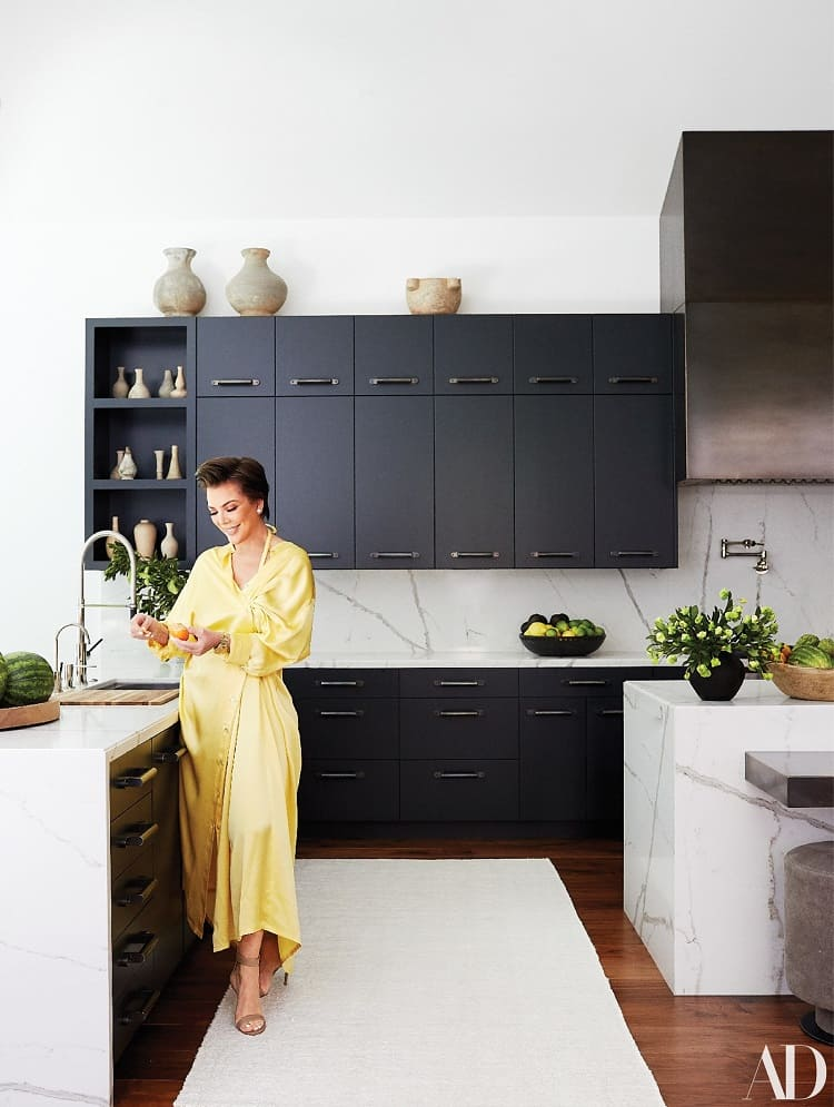 kris jenner in her kitchen at home