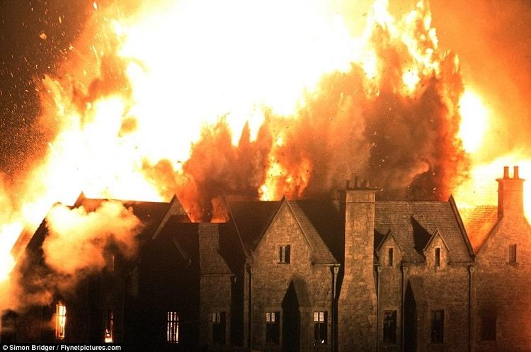 explosion james bond house in skyfall