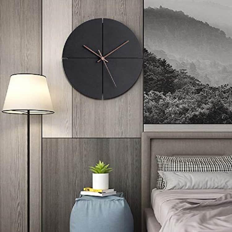 minimalist design wall clock in black wood