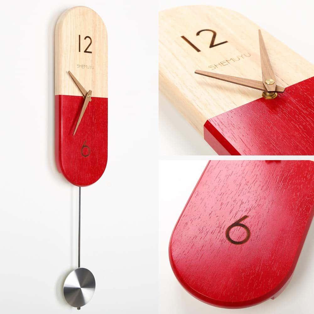 modern pendulum wall clock red wood