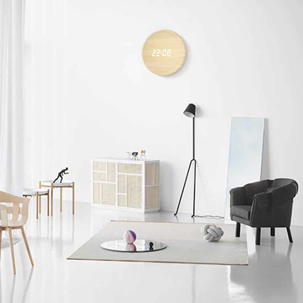 intelligent wall clock wood base