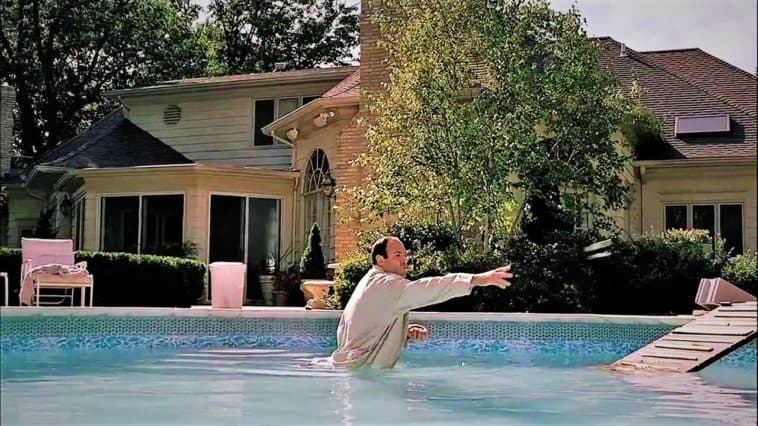 tony soprano in the pool feeding ducks