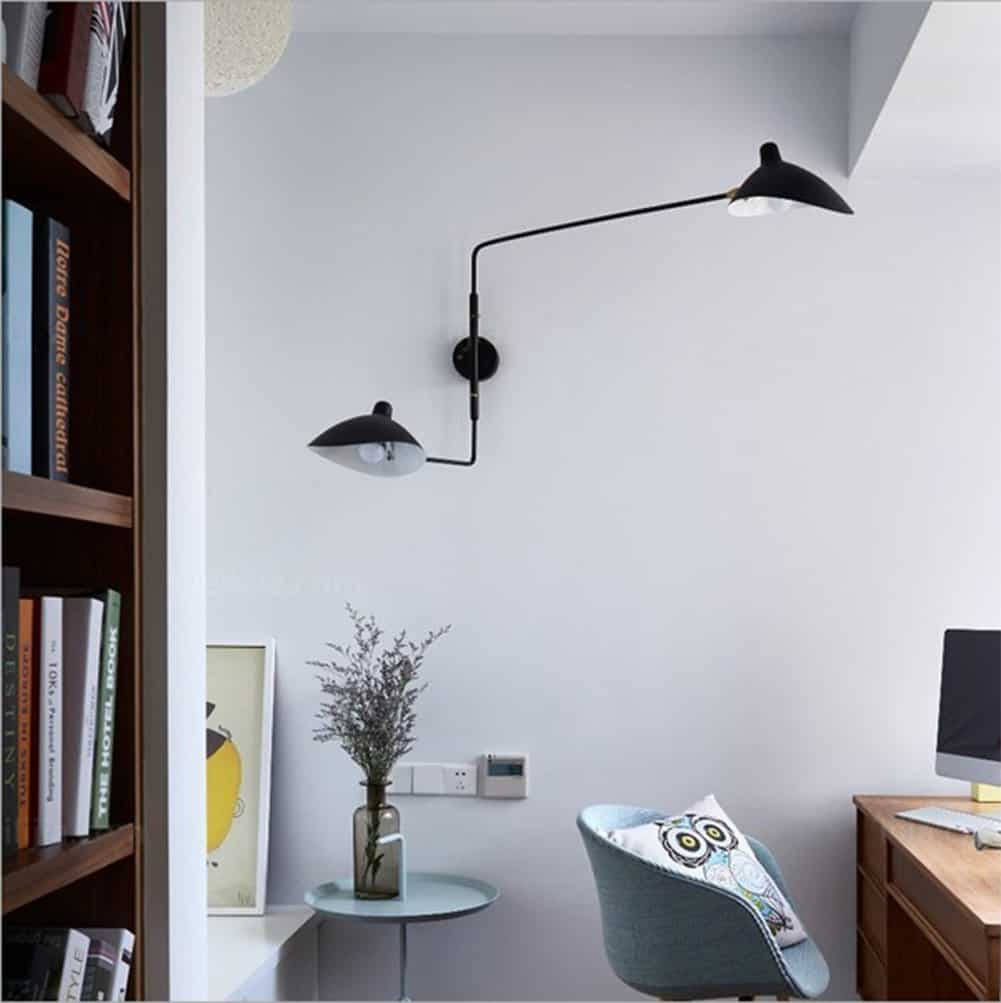Postmodern living room wall fixture: Creative arm swing wall lamp