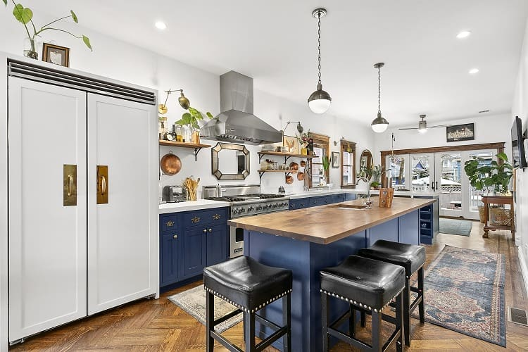 audrey gelman's beautiful kitchen with blue accents