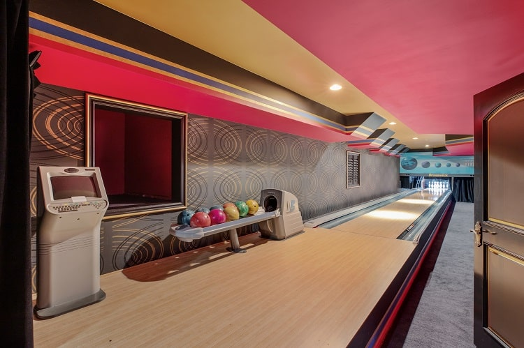 bowling alley in luxury mansion