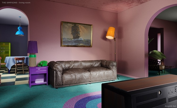 the simpsons house living room