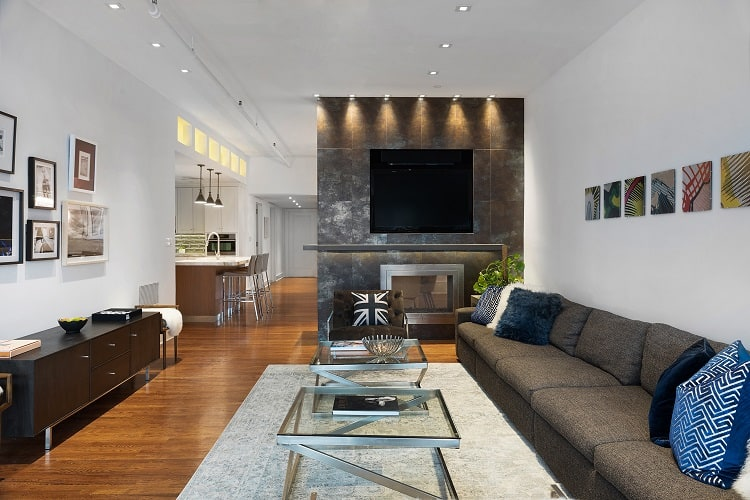 two bedroom apartment in tribeca with a fireplace