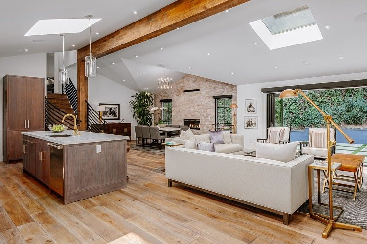 open floor plan with kitchen, dining area and living room