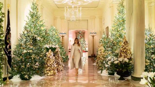 melania trump and the white house decorated for christmas