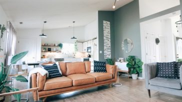 generic grey living room with sofa