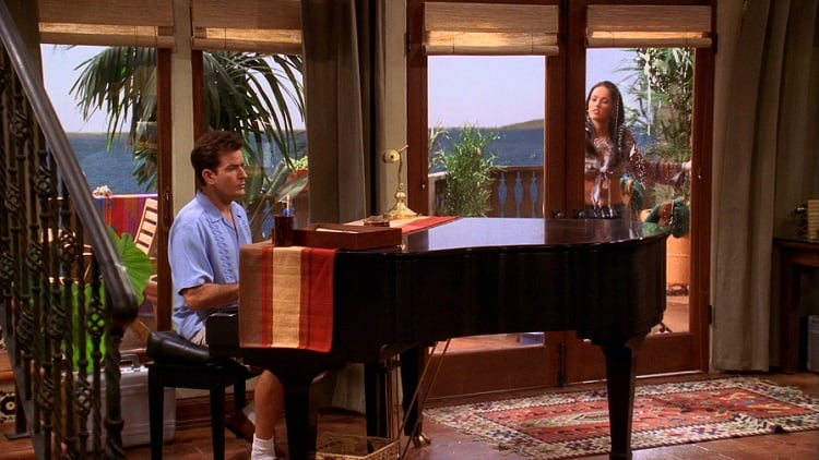 two and a half men charlie's piano