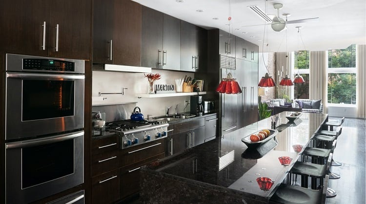 modern kitchen in East Village synagogue turned luxury rental
