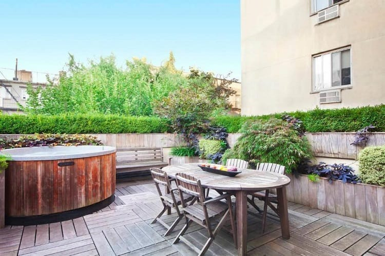 outdoor jacuzzi in East Village synagogue turned luxury rental