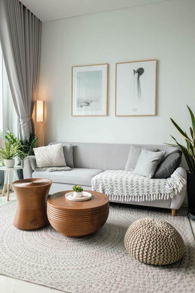 paintings in bright living room