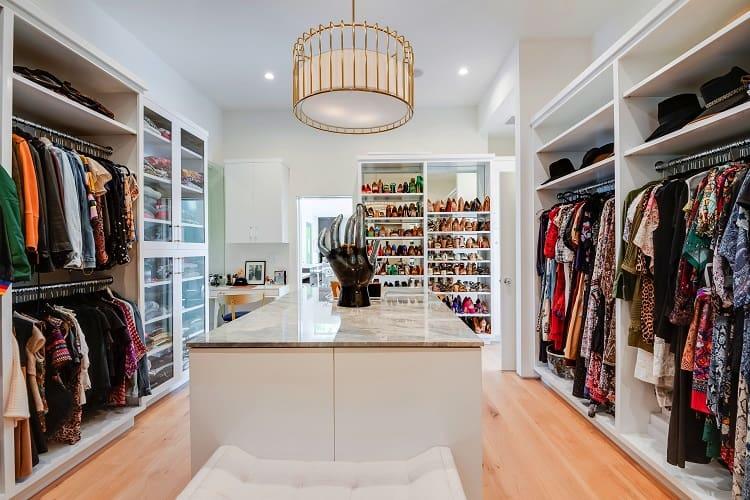Luxury walk-in closet in $10M home in Beverly Hills