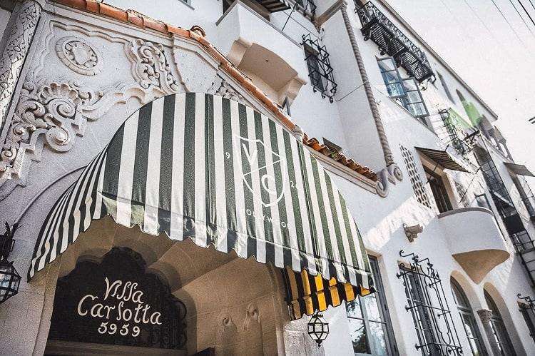 facade of Villa Carlotta in Los Angeles