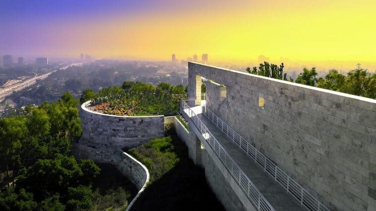 the Cactus Garden on top of one of the buildings at the Getty Center