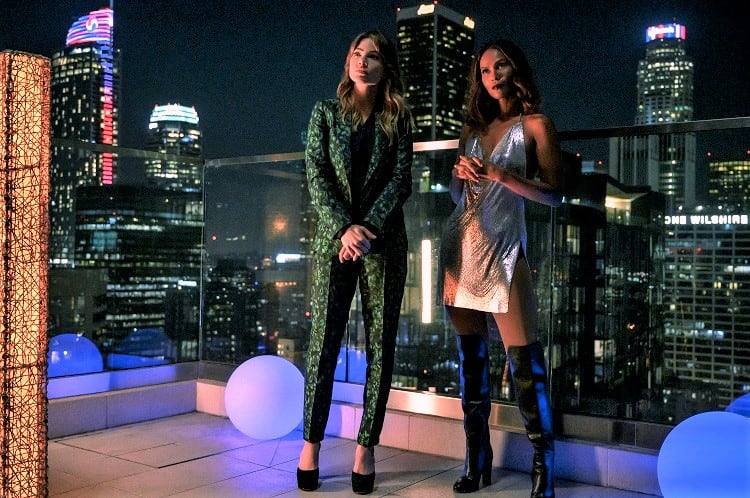 Chloe and Maze standing on Lucifer's terrace, in his penthouse atop of Lux