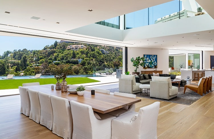 Living areas in Chrissy Teigen and John Legend's house open up to the outdoor areas.