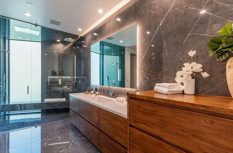 Bathroom in John Legend and Chrissy Teigen's new Beverly Hills house