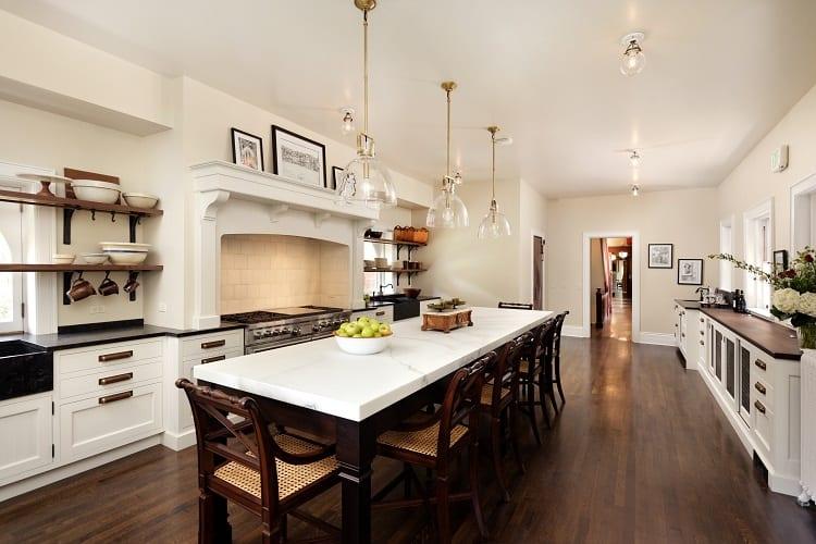 renovated kitchen inside the redstone castle in colorado.