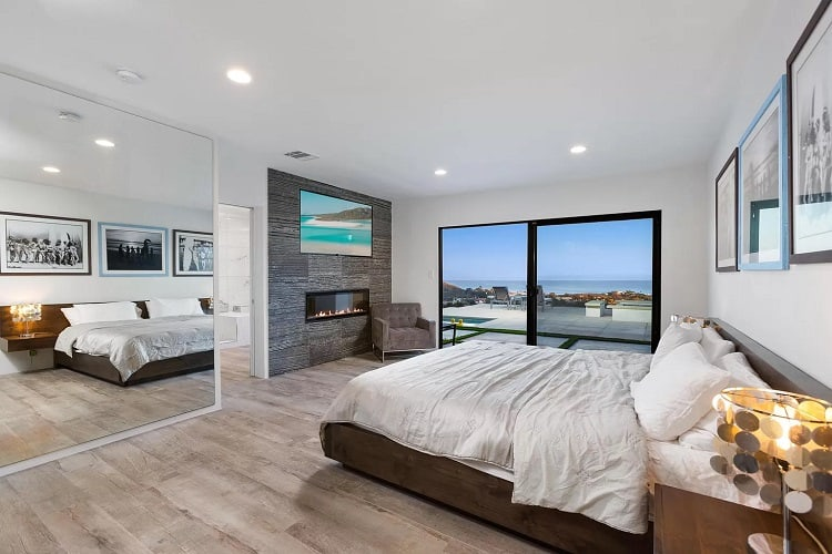 bedroom of a celebrity rental in malibu.