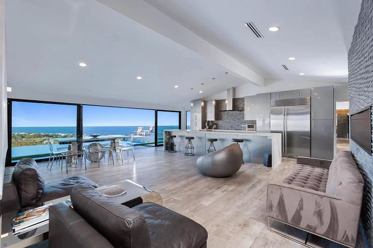 living room of a celebrity rental in malibu.
