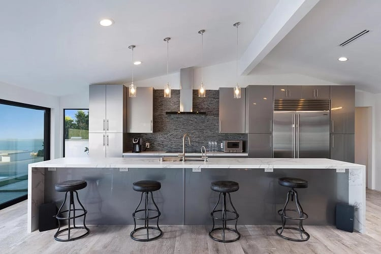 the kitchen of a celebrity rental in malibu.
