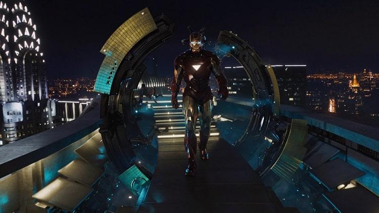 Iron Man landing at Stark Tower.