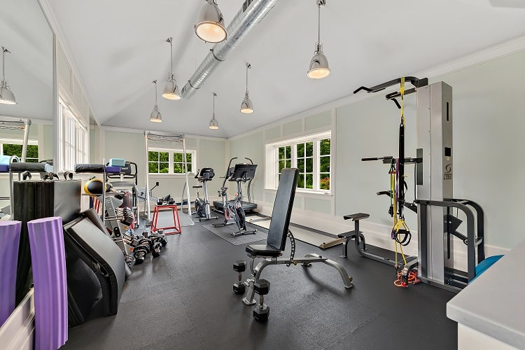 fully equipped gym of a scarsdale house for sale
