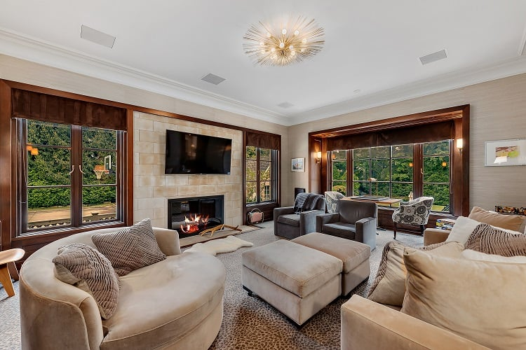 luxury living room of a $9 million house in westchester county
