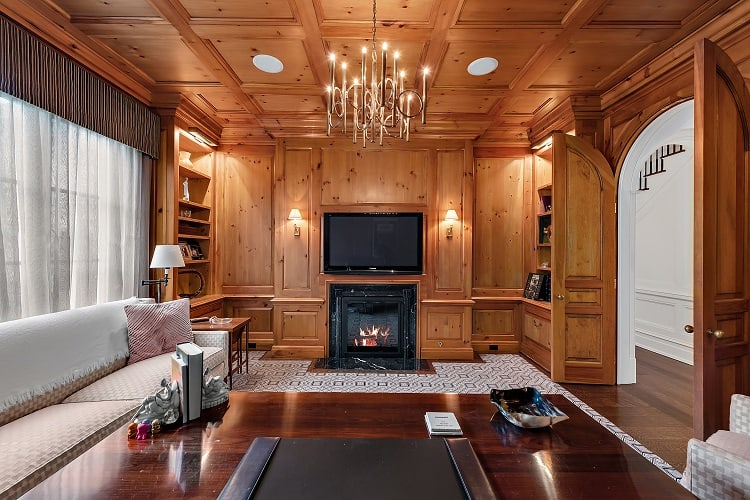 beautiful study with wood panels