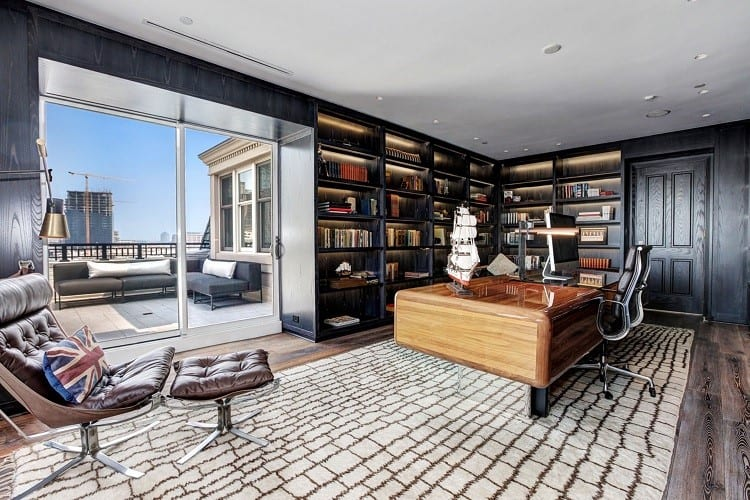 tom clancy office in his penthouse in baltimore