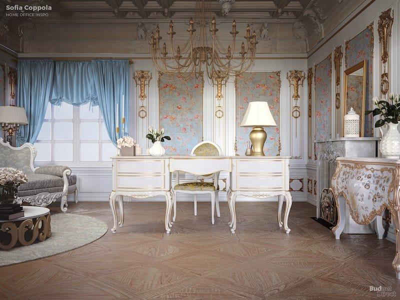Sofia Coppola-inspired home office décor.