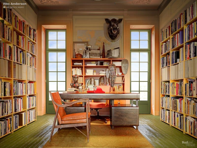 Wes Anderson-inspired home office décor.