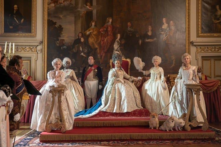 Inside Queen Charlotte's palace (inside the real-life Wilton House).