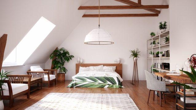 Modern bright open space interior in attic