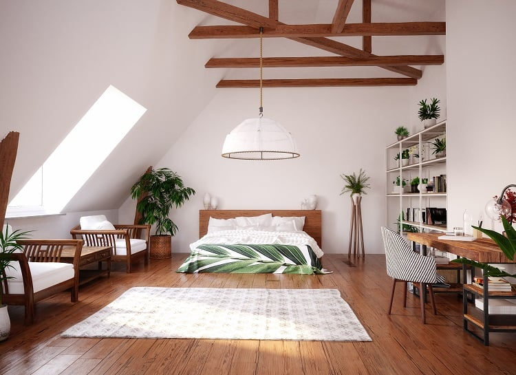 Modern bright open space interior in attic
