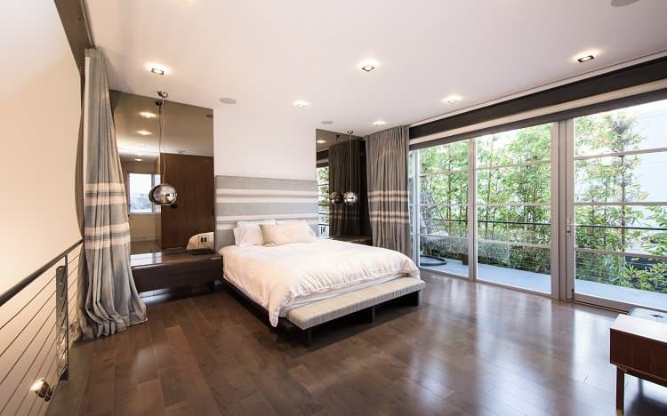 bedroom in a modern loft