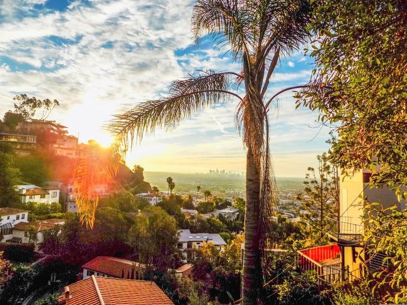 View of downtown LA from the West Hollywood Hills. where |Keanu Reeves lives