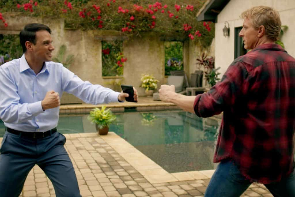 daniel and johnny fighting next to daniel's pool