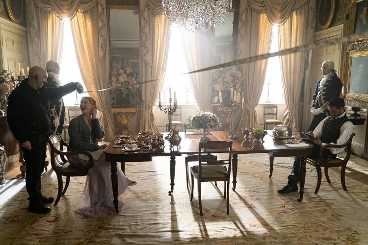 The Bridgerton filming crew inside Wilton House, used for outdoor shots of the Duke of Hastings house in London and for indoor shots of the Duke and Dutchess' country home.