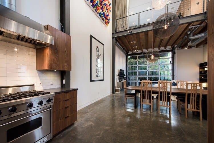 open floor plan in a modern, industrial-style loft in Venice, CA