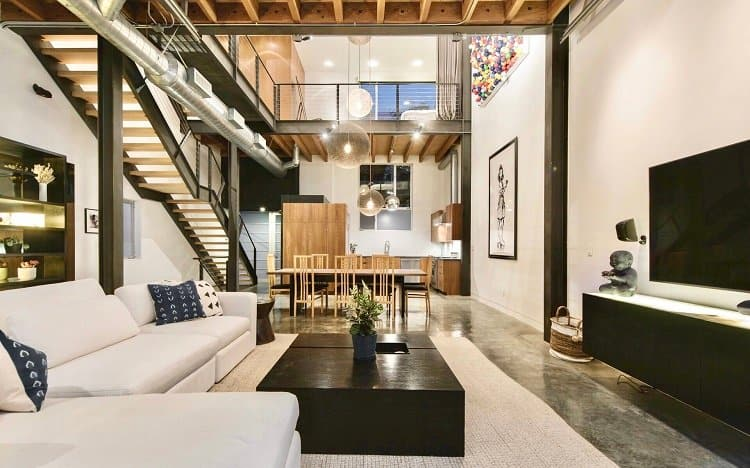 Inside a modern industrial-style loft with beautiful interiors in Venice, CA