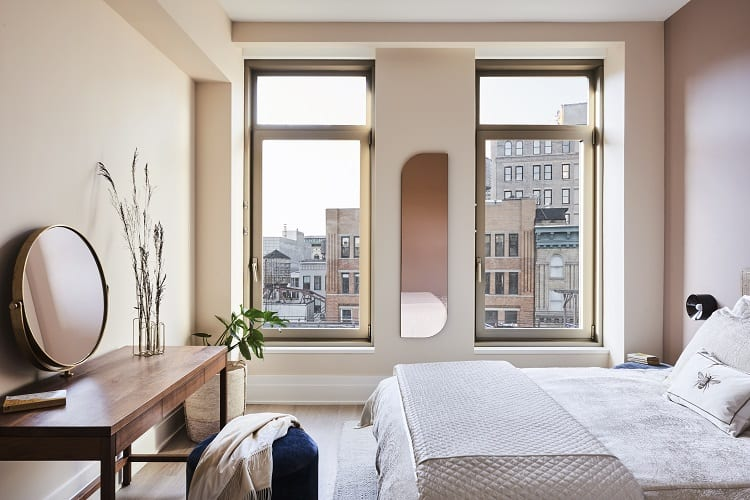 bedroom of a $5.7 million condo at 40 Bleecker in Manhattan, NY