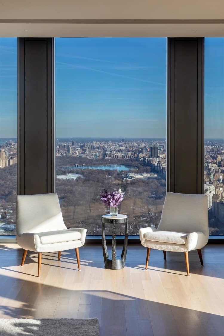 central park views from inside a luxury home in the sky
